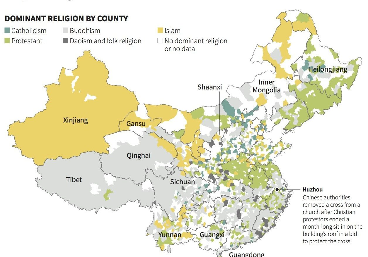 This fascinating map shows the new religious breakdown in China in The Business Insider